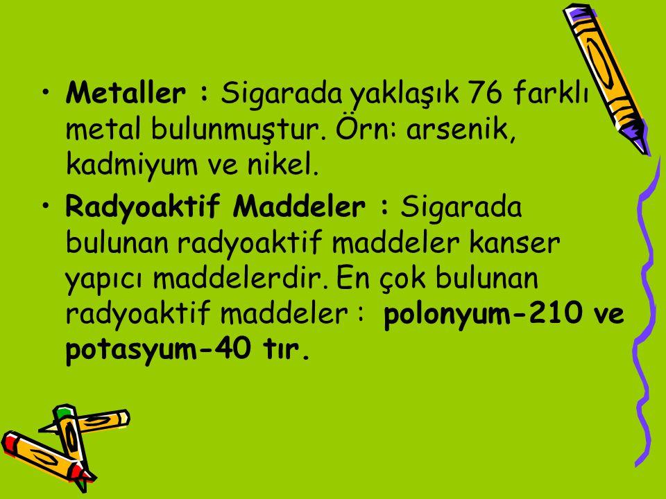 Metaller : Sigarada yaklaşık 76 farklı metal bulunmuştur
