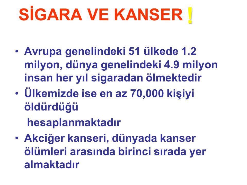 SİGARA VE KANSER ! Avrupa genelindeki 51 ülkede 1.2 milyon, dünya genelindeki 4.9 milyon insan her yıl sigaradan ölmektedir.