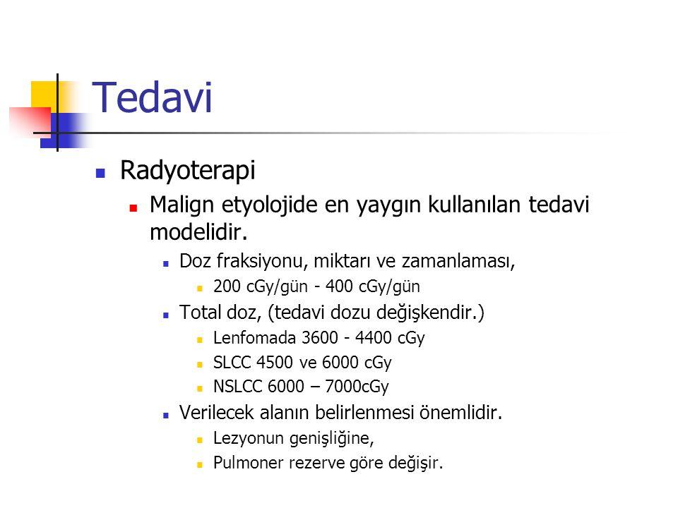 Tedavi Radyoterapi. Malign etyolojide en yaygın kullanılan tedavi modelidir. Doz fraksiyonu, miktarı ve zamanlaması,