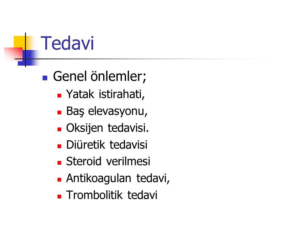 Tedavi Genel önlemler; Yatak istirahati, Baş elevasyonu,