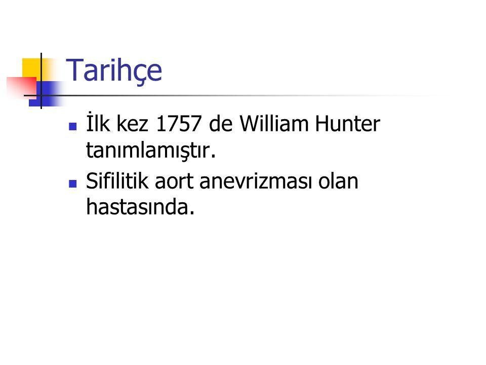 Tarihçe İlk kez 1757 de William Hunter tanımlamıştır.