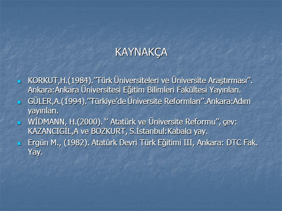 KAYNAKÇA KORKUT,H.(1984).''Türk Üniversiteleri ve Üniversite Araştırması''. Ankara:Ankara Üniversitesi Eğitim Bilimleri Fakültesi Yayınları.