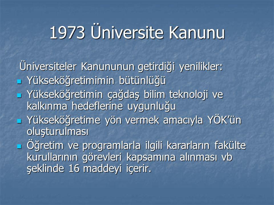 1973 Üniversite Kanunu Yükseköğretimimin bütünlüğü