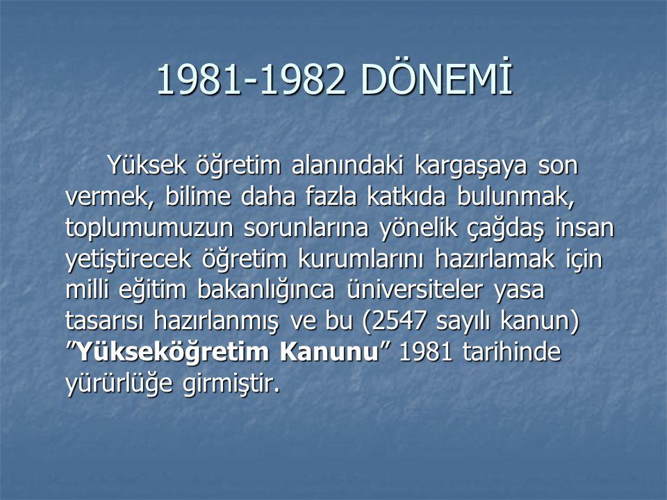 1981-1982 DÖNEMİ