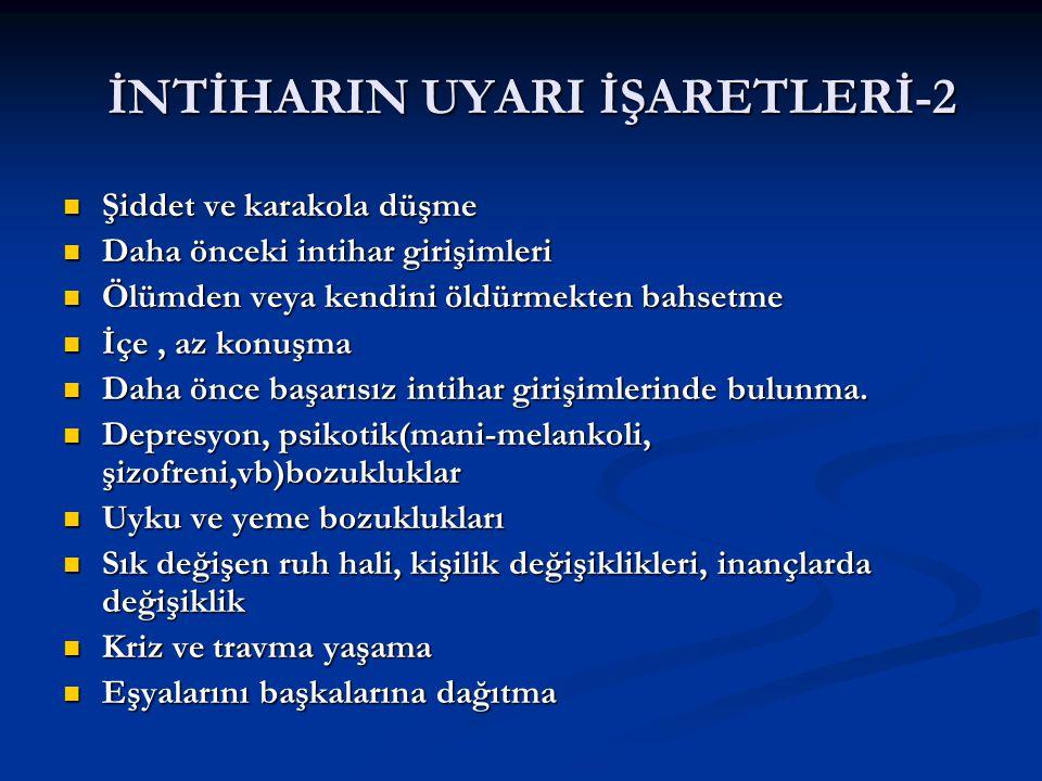 İNTİHARIN UYARI İŞARETLERİ-2
