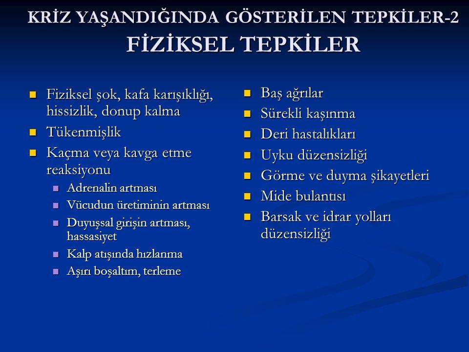 KRİZ YAŞANDIĞINDA GÖSTERİLEN TEPKİLER-2 FİZİKSEL TEPKİLER