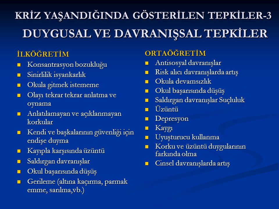 KRİZ YAŞANDIĞINDA GÖSTERİLEN TEPKİLER-3 DUYGUSAL VE DAVRANIŞSAL TEPKİLER