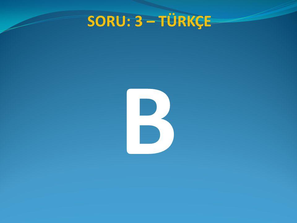 SORU: 3 – TÜRKÇE B
