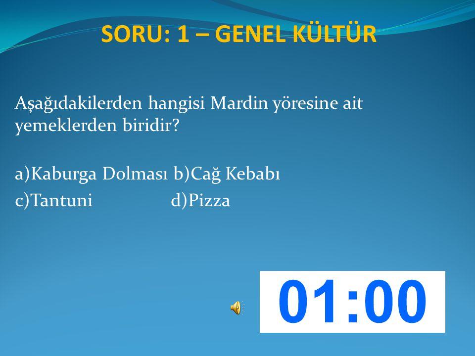 SORU: 1 – GENEL KÜLTÜR Aşağıdakilerden hangisi Mardin yöresine ait yemeklerden biridir a)Kaburga Dolması b)Cağ Kebabı.