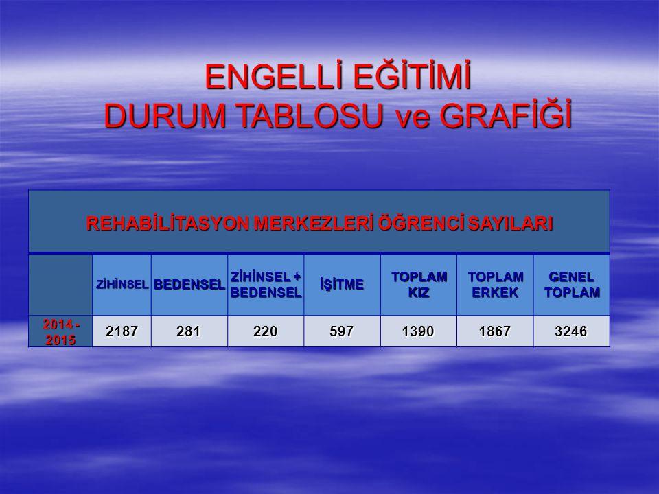 ENGELLİ EĞİTİMİ DURUM TABLOSU ve GRAFİĞİ