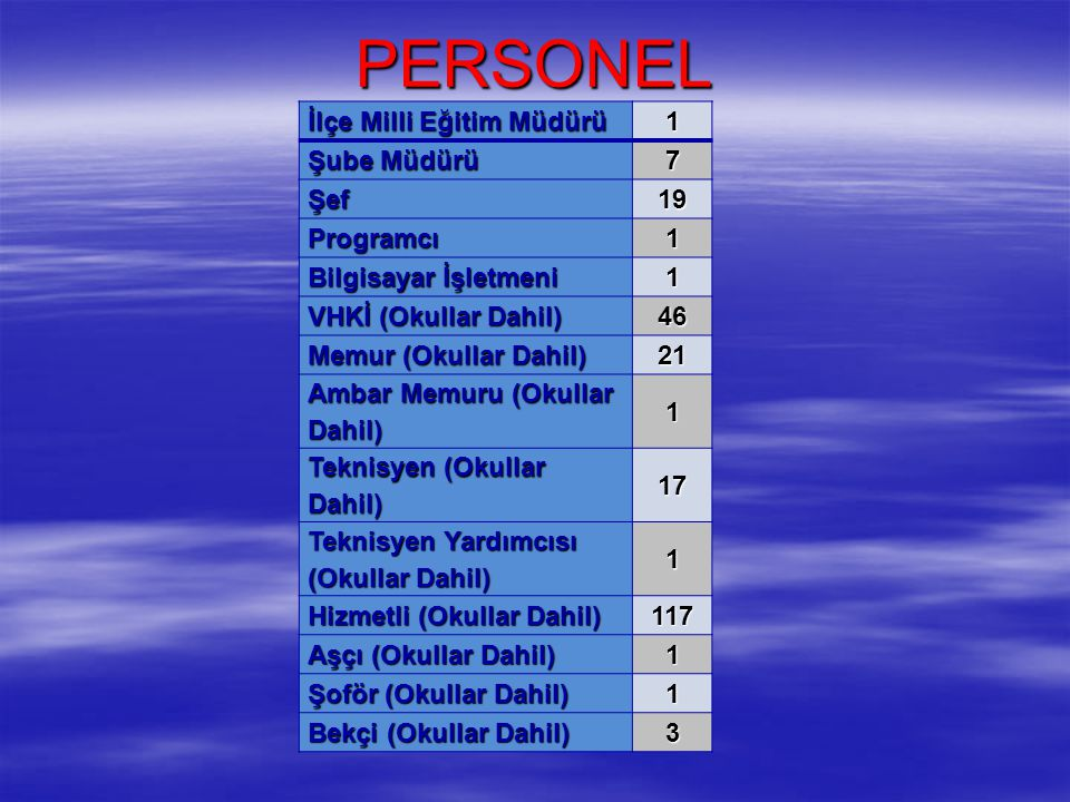 PERSONEL İlçe Milli Eğitim Müdürü 1 Şube Müdürü 7 Şef 19 Programcı