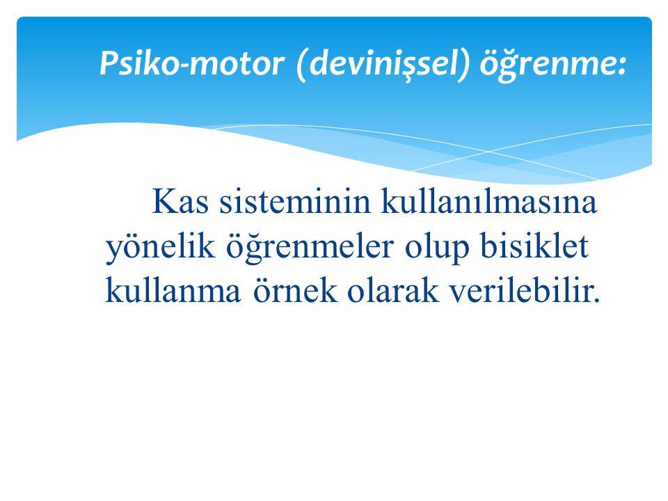 Psiko-motor (devinişsel) öğrenme: