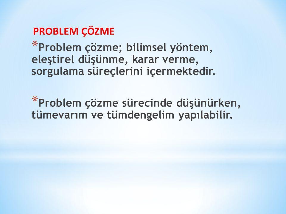 PROBLEM ÇÖZME Problem çözme; bilimsel yöntem, eleştirel düşünme, karar verme, sorgulama süreçlerini içermektedir.