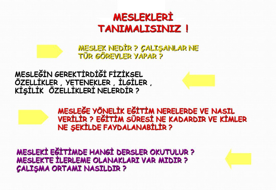 MESLEKLERİ TANIMALISINIZ !