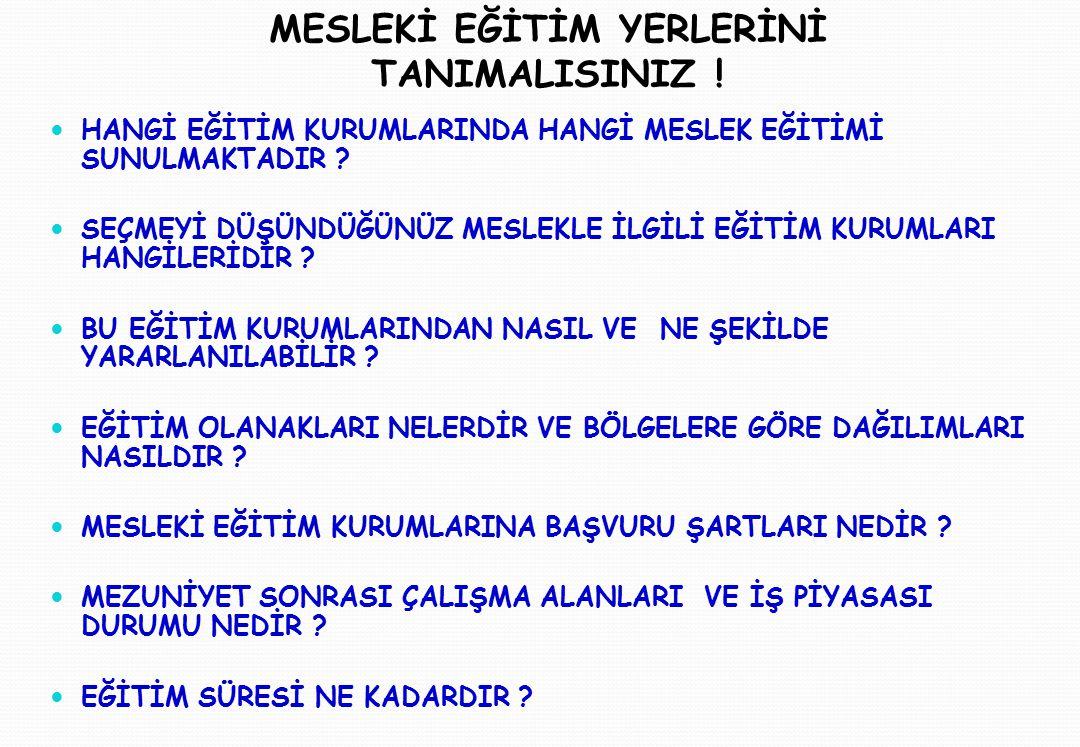 MESLEKİ EĞİTİM YERLERİNİ TANIMALISINIZ !