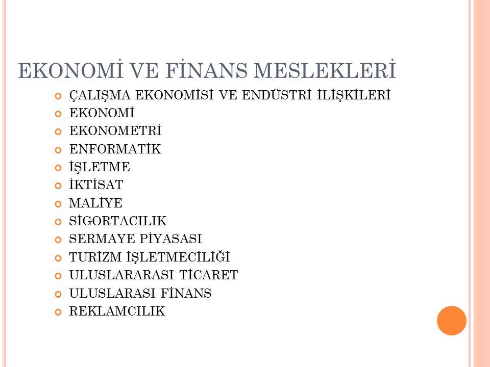 EKONOMİ VE FİNANS MESLEKLERİ