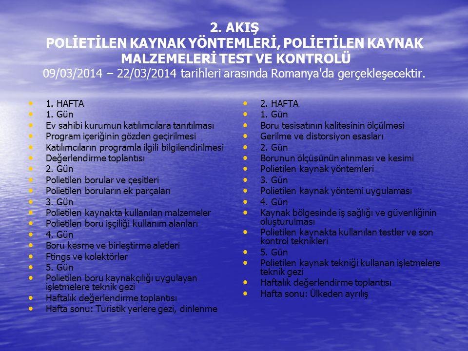 2. AKIŞ POLİETİLEN KAYNAK YÖNTEMLERİ, POLİETİLEN KAYNAK MALZEMELERİ TEST VE KONTROLÜ 09/03/2014 – 22/03/2014 tarihleri arasında Romanya da gerçekleşecektir.