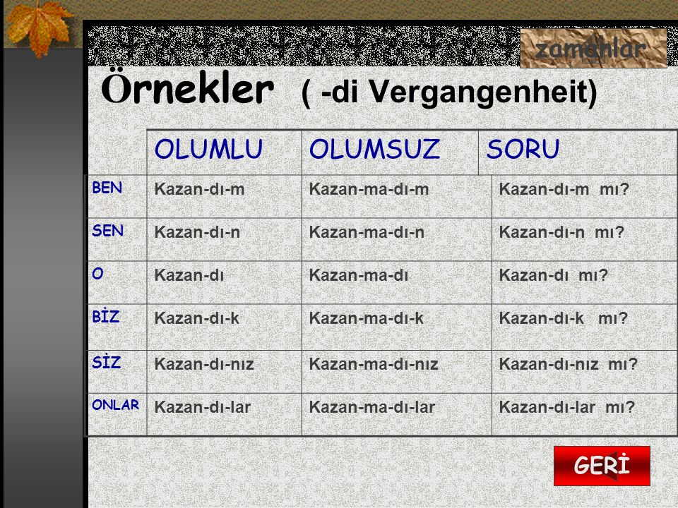 Örnekler ( -di Vergangenheit)