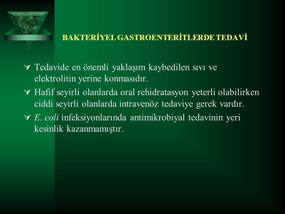 BAKTERİYEL GASTROENTERİTLERDE TEDAVİ