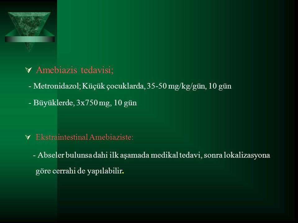 Amebiazis tedavisi; - Metronidazol; Küçük çocuklarda, 35-50 mg/kg/gün, 10 gün. - Büyüklerde, 3x750 mg, 10 gün.
