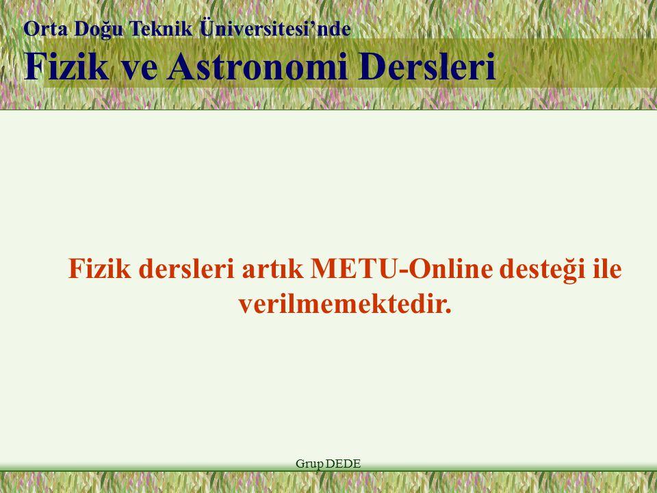 Fizik dersleri artık METU-Online desteği ile verilmemektedir.