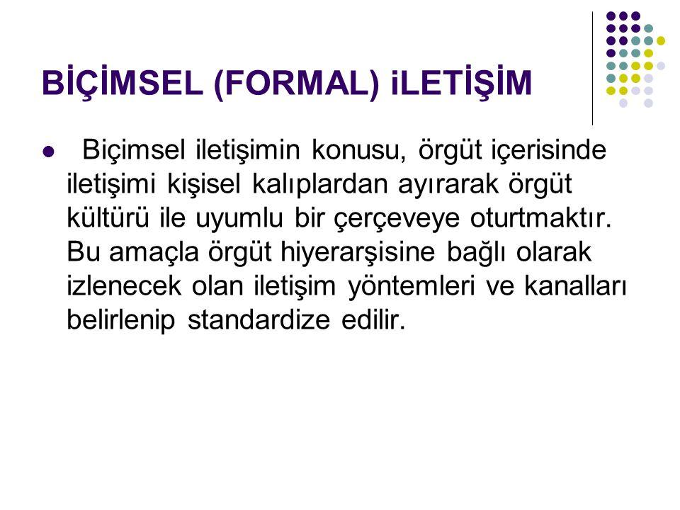 BİÇİMSEL (FORMAL) iLETİŞİM