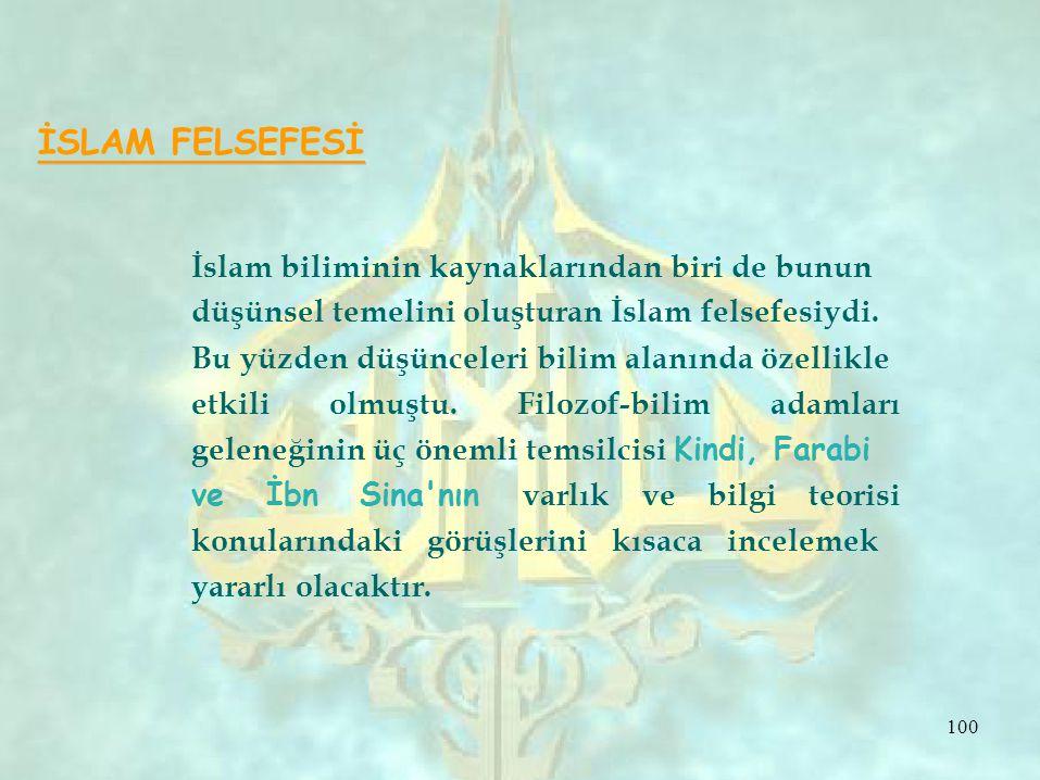 İSLAM FELSEFESİ İslam biliminin kaynaklarından biri de bunun