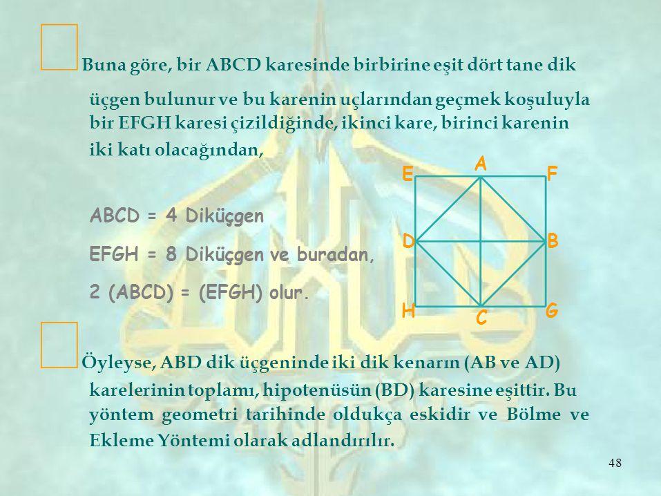 ∞Buna göre, bir ABCD karesinde birbirine eşit dört tane dik