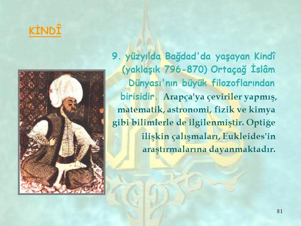 KİNDÎ 9. yüzyılda Bağdad da yaşayan Kindî