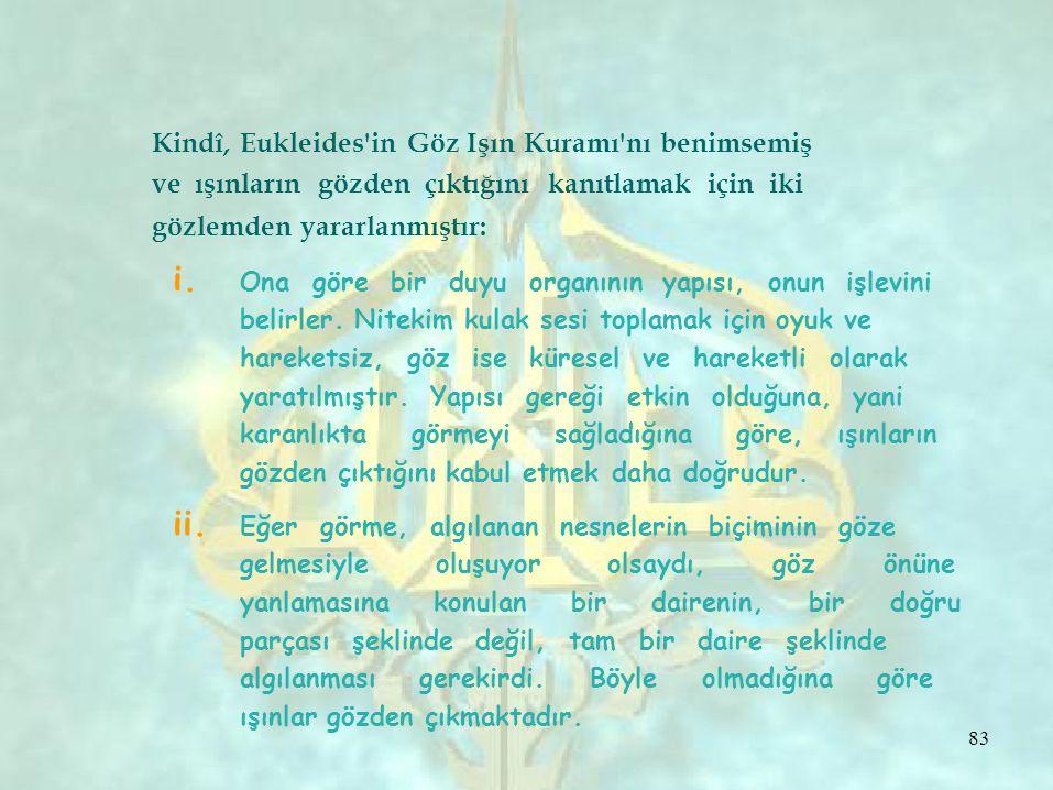 i. ii. Kindî, Eukleides in Göz Işın Kuramı nı benimsemiş