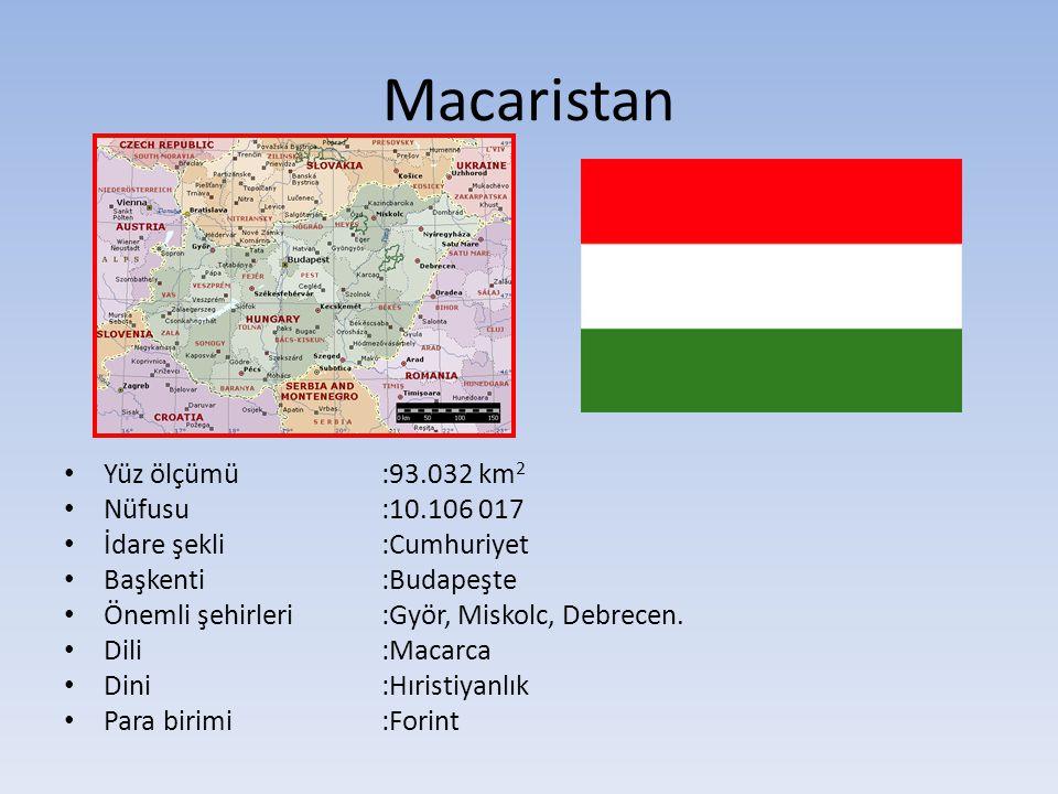 Macaristan Yüz ölçümü :93.032 km2 Nüfusu :10.106 017
