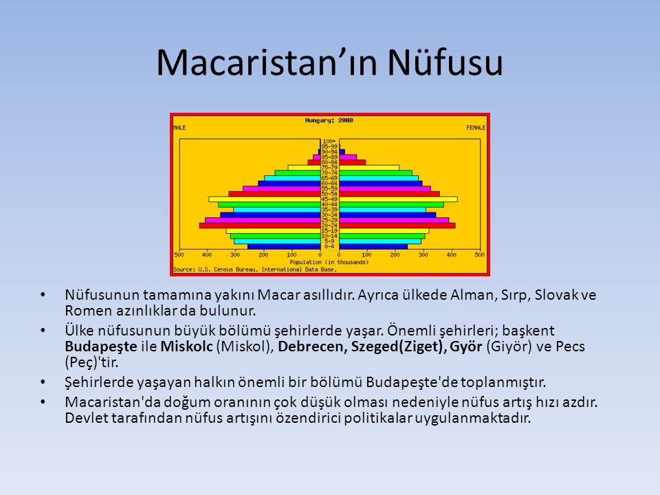 Macaristan'ın Nüfusu Nüfusunun tamamına yakını Macar asıllıdır. Ayrıca ülkede Alman, Sırp, Slovak ve Romen azınlıklar da bulunur.