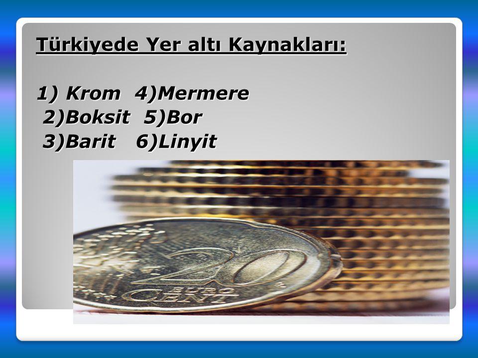 Türkiyede Yer altı Kaynakları: 1) Krom 4)Mermere 2)Boksit 5)Bor 3)Barit 6)Linyit
