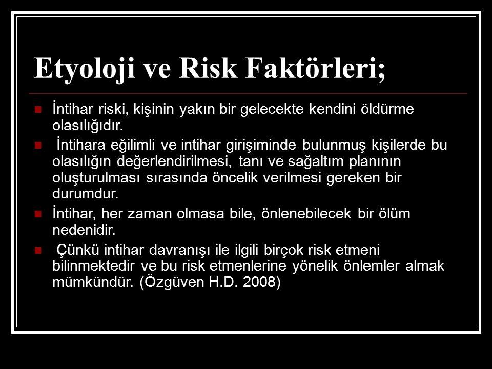 Etyoloji ve Risk Faktörleri;