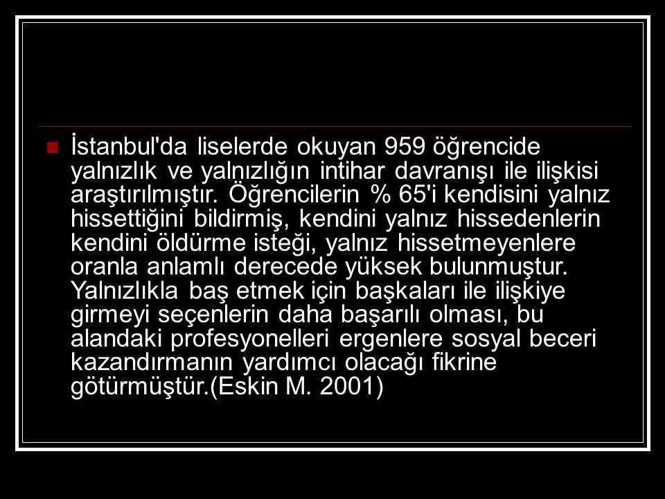 İstanbul da liselerde okuyan 959 öğrencide yalnızlık ve yalnızlığın intihar davranışı ile ilişkisi araştırılmıştır.
