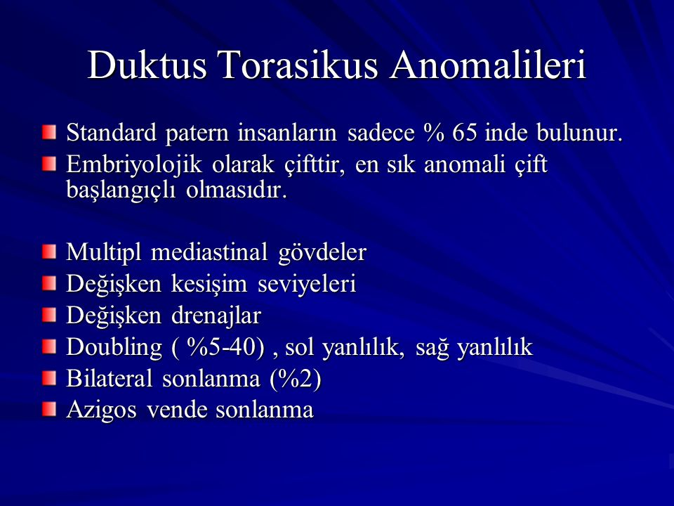 Duktus Torasikus Anomalileri
