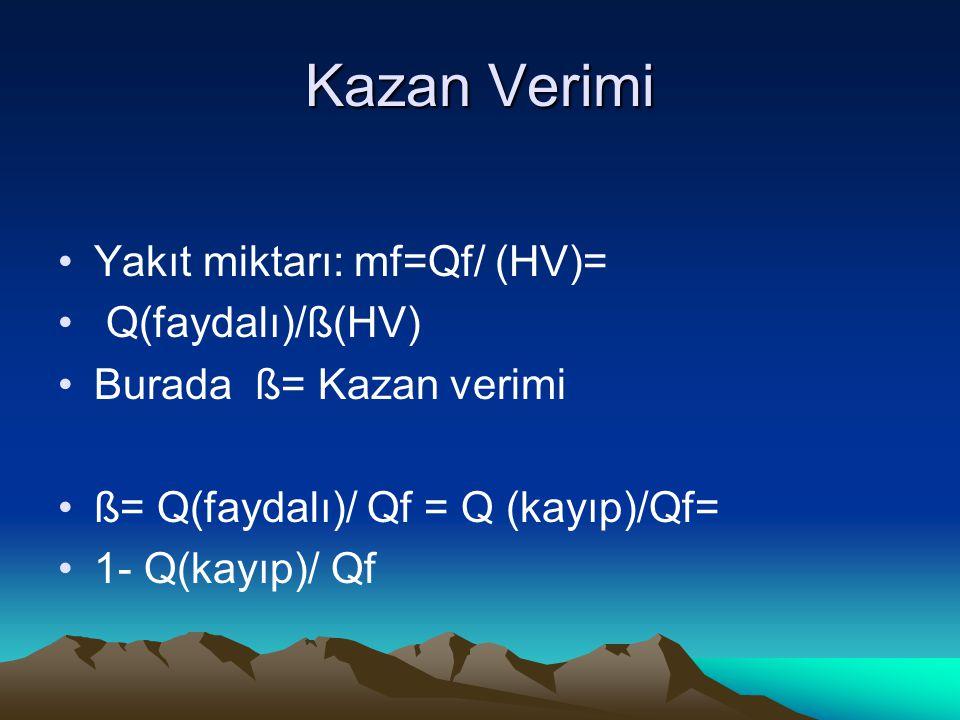 Kazan Verimi Yakıt miktarı: mf=Qf/ (HV)= Q(faydalı)/ß(HV)