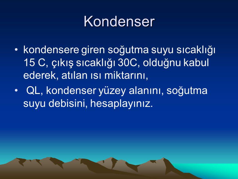 Kondenser kondensere giren soğutma suyu sıcaklığı 15 C, çıkış sıcaklığı 30C, olduğnu kabul ederek, atılan ısı miktarını,