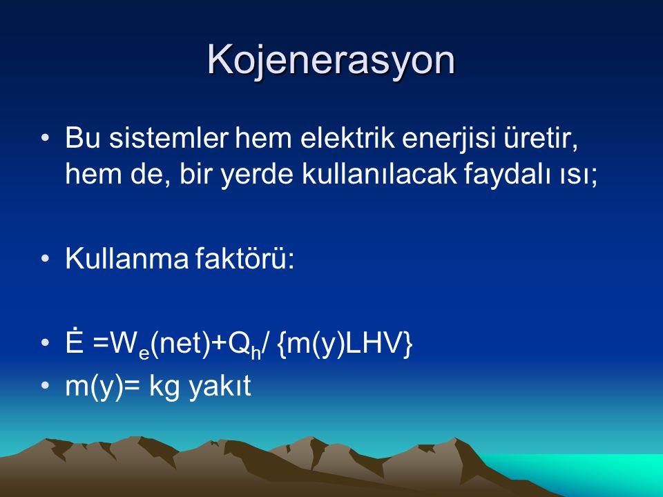 Kojenerasyon Bu sistemler hem elektrik enerjisi üretir, hem de, bir yerde kullanılacak faydalı ısı;
