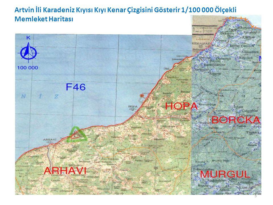 Artvin İli Karadeniz Kıyısı Kıyı Kenar Çizgisini Gösterir 1/100 000 Ölçekli Memleket Haritası