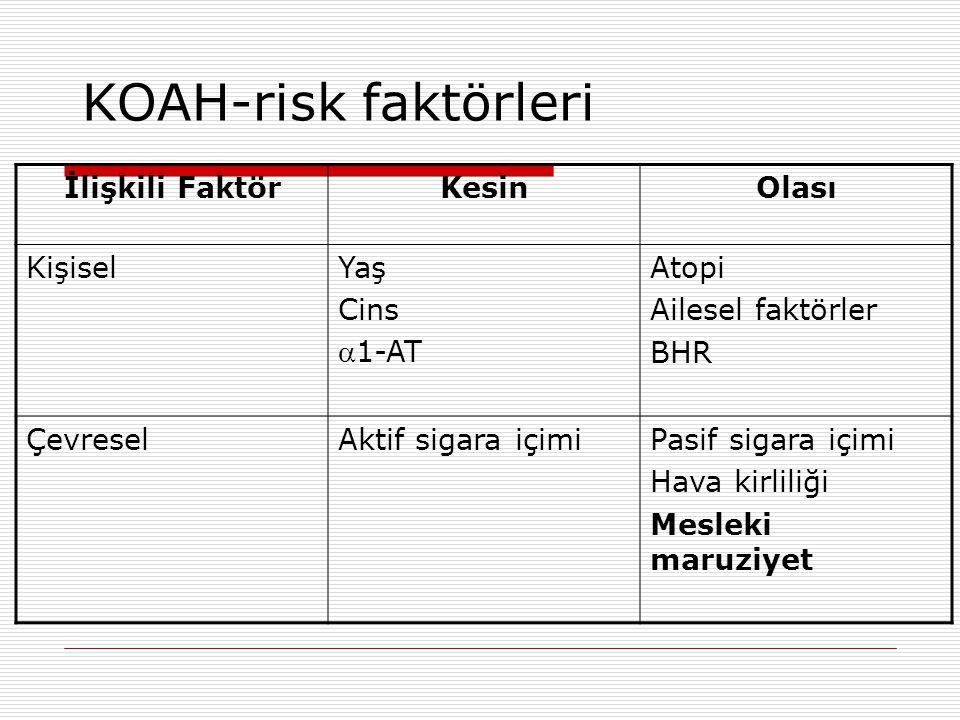 KOAH-risk faktörleri İlişkili Faktör Kesin Olası Kişisel Yaş Cins