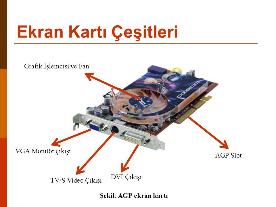 Ekran Kartı Çeşitleri Grafik İşlemcisi ve Fan VGA Monitör çıkışı