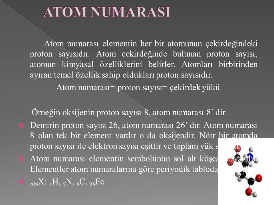 Atom numarası= proton sayısı= çekirdek yükü