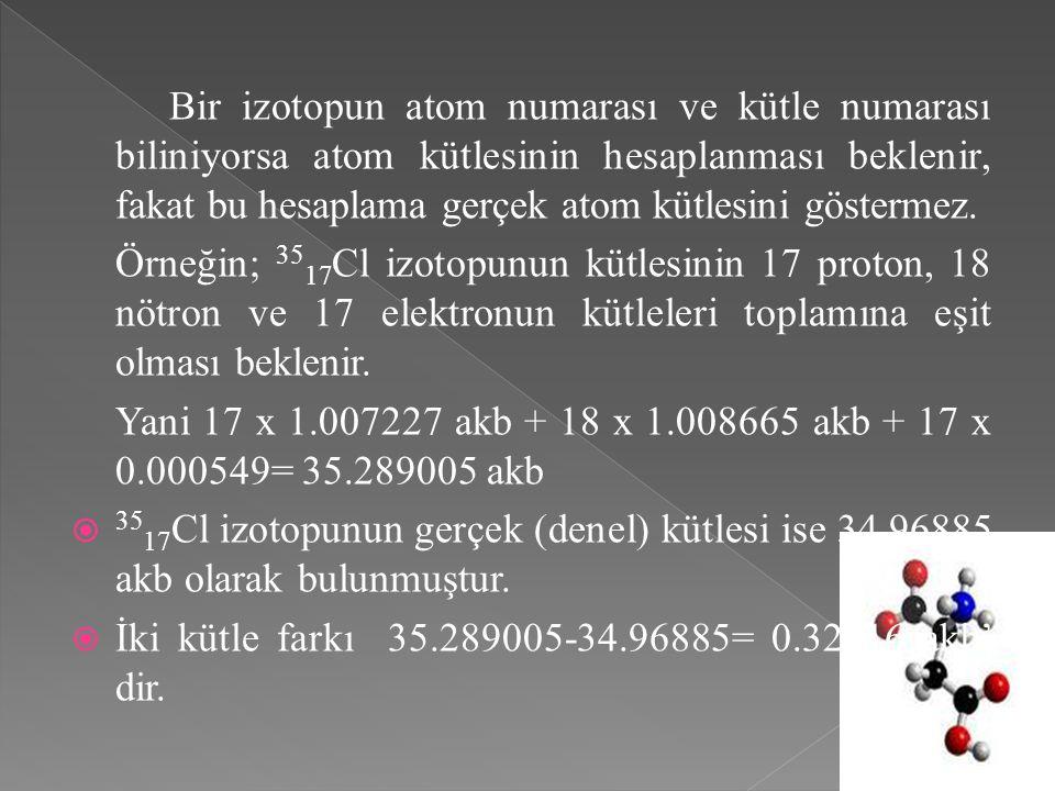 Bir izotopun atom numarası ve kütle numarası biliniyorsa atom kütlesinin hesaplanması beklenir, fakat bu hesaplama gerçek atom kütlesini göstermez.