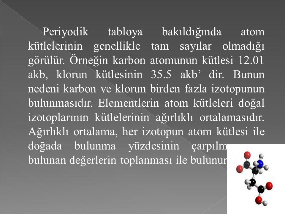 Periyodik tabloya bakıldığında atom kütlelerinin genellikle tam sayılar olmadığı görülür.