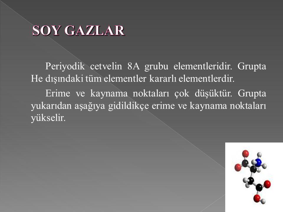 SOY GAZLAR Periyodik cetvelin 8A grubu elementleridir. Grupta He dışındaki tüm elementler kararlı elementlerdir.