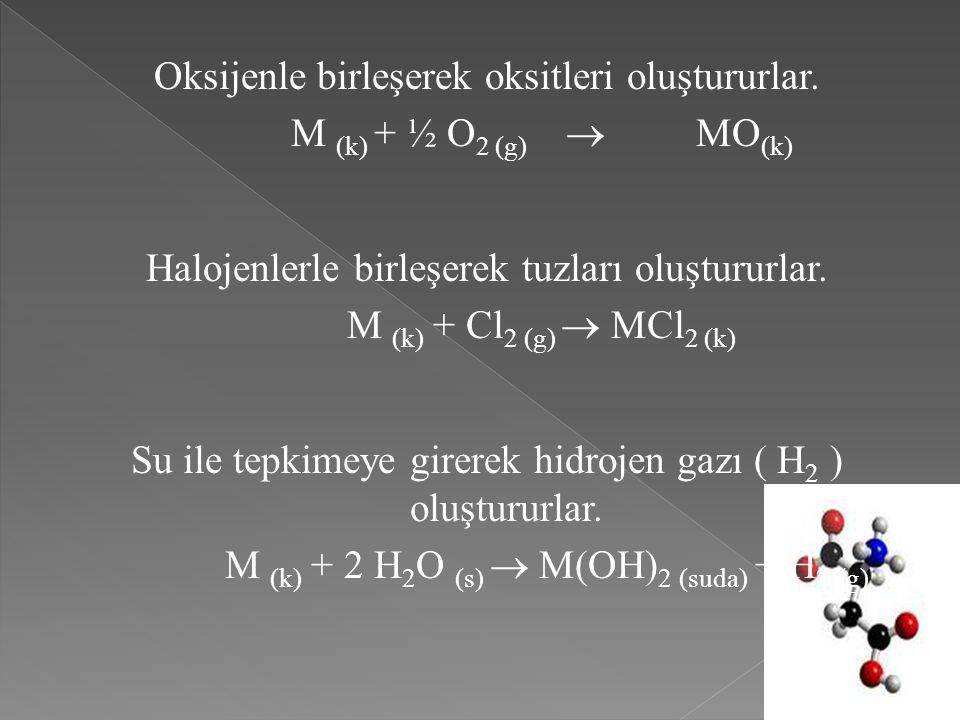 Oksijenle birleşerek oksitleri oluştururlar. M (k) + ½ O2 (g)  MO(k)