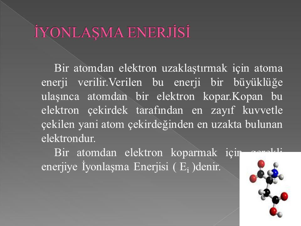 İYONLAŞMA ENERJİSİ