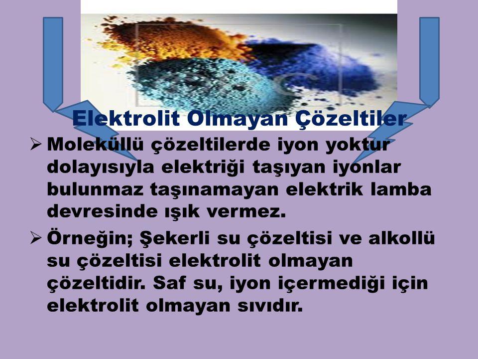 Elektrolit Olmayan Çözeltiler