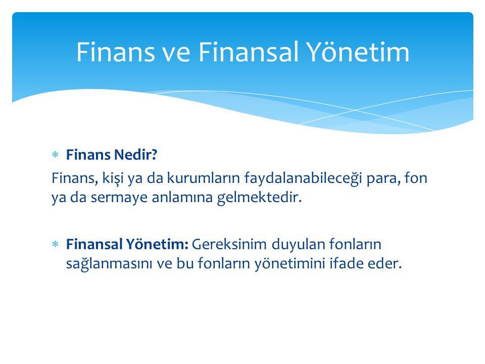 Finans ve Finansal Yönetim
